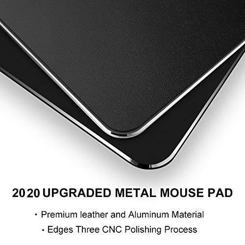 Metal Aluminum Mouse Pad, Office and Gaming Thin Hard Mouse Mat Double Sided Waterproof Fast and Accurate Control Mousepad for Laptop, Computer and PC,9.45 X 7.87 Inch,Black Photo #5