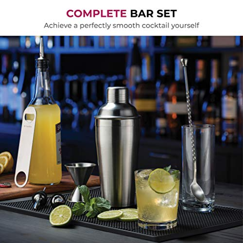 Premium Cocktail Shaker Bar Tools Set, (7 piece) Brushed Stainless Steel Bartender Kit, with All Bar Accessories, Cocktail Strainer, Double Jigger, Bar Spoon, Bottle Opener, Pour Spouts