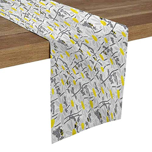SoSung Linen Burlap Table Runner Dresser Scarves 14x72 Inch Yellow,Bees Chamomile Meadow for Dining Room Kitchen Table Decor,Outdoor or Indoor Parties
