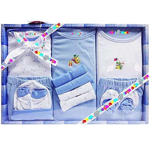 EIO Baby Gift Set for New Born Unisex- 13 Pieces (Blue)