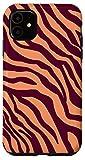 iPhone 11 Zebra Peach Purple Jam Stripes Print Wild Animal Pattern Case