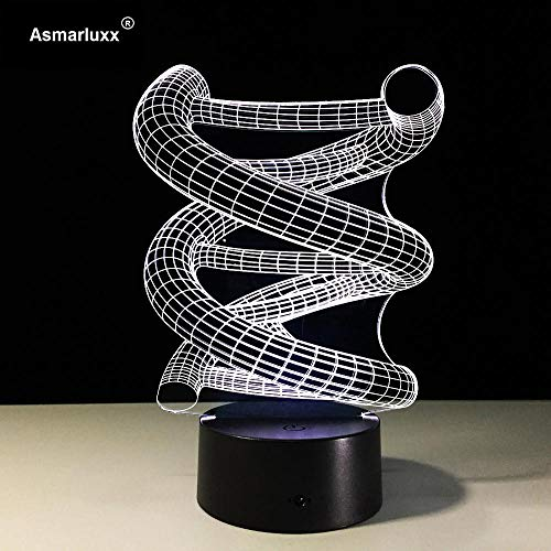 Luxury & Trendy 3D DNA Home Decoration Bulb Lamp LED Night 7 Color Change Table Illusion Bedroom Kid Boys Cafe Bar Deco Toy Gifts Drop Shipping