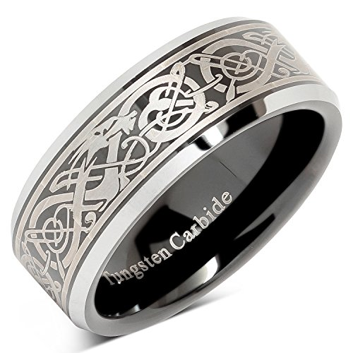 100S JEWELRY Tungsten Ring for Men Black Wedding Band Celtic Dragon Engraved Engagement Promise Beveled Size 8-15 (12)