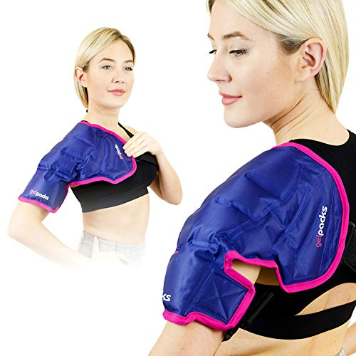 Magic Gel Shoulder Ice Pack  Reusable Flexible and Long Lasting Ice Pack for Rotator Cuff Injuries Bursitis and Swelling Cold Therapy Compression Wrap for Left or Right Shoulder  Large