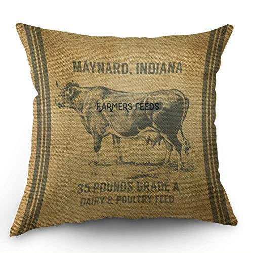 HL HLPPC Decorative Farms Cow Feed Sack Throw Pillow Case Cotton Linen Cushion Cover 18 x 18 Inches Standard Square Decorative Pillow Cover for Sofa and Bed One Side Print