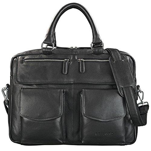 STILORD 'Kansas' Umhängetasche Leder 15,6 Zoll Laptoptasche Vintage Herren Damen Schultertasche groß Uni Büro, Farbe:schwarz