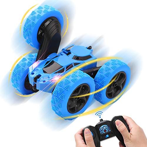 Diealles Shine Rc Stunt Auto 4WD, Auto Ferngesteuert 360° Spins und Flipsmit 2,4 GHz Fernsteuerung für Kinder Jungen Mädchen, Blau
