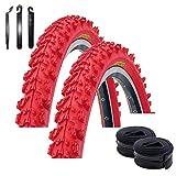 Maxxi4you - Juego de 2 cubiertas Kenda K-829 Psycho para bicicleta de montaña de 24' (50 - 507 (24 x 1,95) + 2 cámaras de aire AV, incluye 3 desmontadores para neumáticos), color rojo