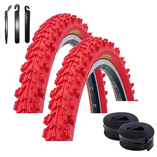 Maxxi4you - Set di 2 pneumatici Kenda K-829 Psycho da 24', per MTB, rivestimento rosso 50-507 (24 x 1,95) + 2 camere d'aria compatibili DV con 3 leve per pneumatici