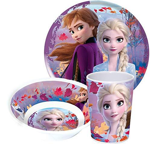 Produkt kompatibel mit Disney Frozen Die Eiskönigin Kinderservice mit Teller, Müslischüssel und Trinkbecher aus Melamin