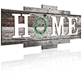 Jetec Rustic Home Wall Decor Wooden Home Sign Hanging Decor Framed Wooden Home Plaque with Green Wreath for Bedroom, Living Room, Outdoor (Bright Color)