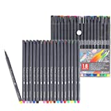 Inoranges Direct 18 Color Pen Set, 0.4mm Color Perforated thin Line Pen Coloring Pen, Suitable for Children's Mark Drawing, Publication Drawing and Writing, Calendar Planning, Art and Office Supplies