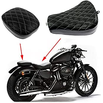 Passenger Rider Leather Seat for Harley Davidson Sportster 883 XL1200 Black ECLEAR Motorcycle Front Rear Cushion