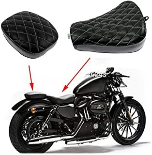 Motorcycle Diamond Front Rider Solo Seat + Rear Passenger Cushion for Harley Sportster XL 48 72 1200X 1200V