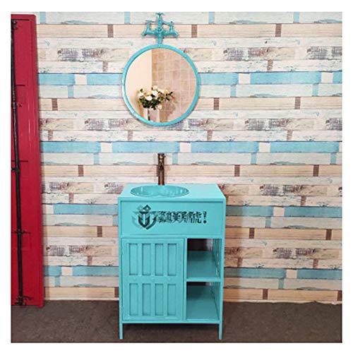 YRRA Moderno Muebles de baño con Lavabo y Espejo, Mueble Lavabo al Suelo Mueble Lavabo Completo con Grifo 23,6 x 17,7 33,4 Pulgadas,Azul,with Mirror