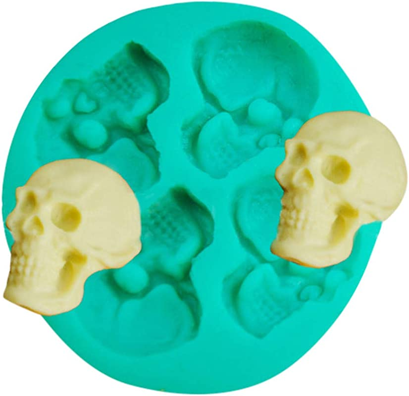 C Easy DIY Skull Head Fondant Chocolate Cake Mold Tray Silicone Baking Mould Sugar Candy Molds