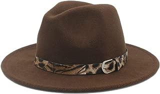 SHENTIANWEI Men Women Winter Wool Fedora Hat with Belt Panama Jazz Hat Wide Brim Fascinator Church Hat Size 56-58CM