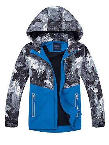 LAUSONS Kinder Gefütterte Jacke Jungen Übergangsjacken für Jungs Softshelljacken mit Camouflage Muster Grau XXL