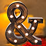 Vintage LED Marquee Letter Lights Light Up Industrial 26 Alphabet Name Signs Bar Cafe Initials Decor for Birthday Party Christmas Wedding Events(letter &)