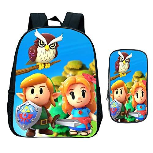 XINXIANG Sonic Bag The Legend of Zelda 2 unidades/set de mochila estuche para lápices Enlace de despertar estudiantil bolsas escolares para niñas niños diario bolsa de libro