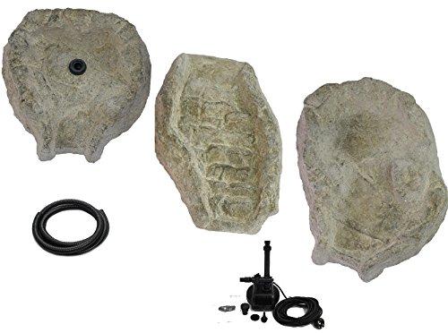 wasserkaskaden Kit Cascade Fulda Granit avec Pompe, Gris/Vert, 130 x 42 x 50 cm, 5 pièces
