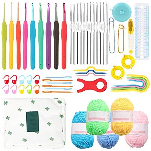 Coopay Kits de Ganchillo para Adultos Principiantes, Incluye Ganchos de Metal Ergonómicos de 0,6 mm...