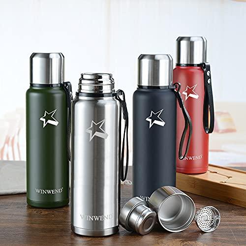 WINWEND Trinkflasche Edelstahl - 500ml, 1L - Auslaufsicher Thermoskanne, BPA-Frei Wasserflasche,24h heiß/24h kalt -Thermosflasche für Fahrrad, Camping, Fitness und Outdoor-Enthusiasten