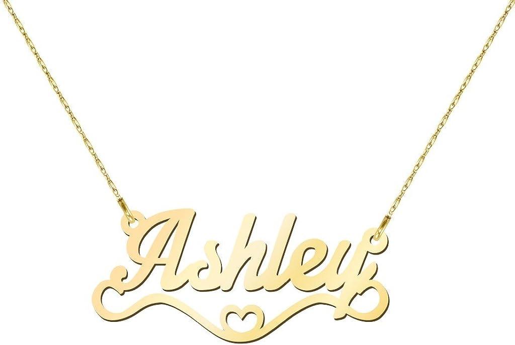 14K Heart Name Necklace by JEWLR