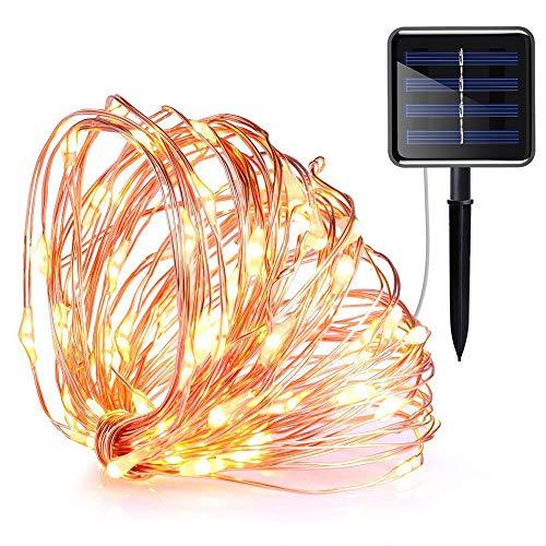 LXQ Cadena de luces solares, 10 metros, 100 luces, 8 modos, interior,...