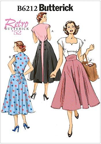 Butterick Damen-Schnittmuster 6212 für Kleider,Vintage-Stil