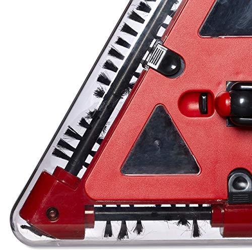 Relaxdays Akkusauger beutellos, Dreieck-Akkubesen kabellos mit rotierenden Bürsten, Kehrbesen elektrisch 115x34 cm, rot - 8
