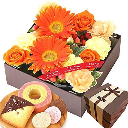 誕生日 プレゼント 花 バラ 人気商品 ケーキ洋菓子 お菓子 スイーツ お祝いギフト アレンジメント生花 (オレンジ)
