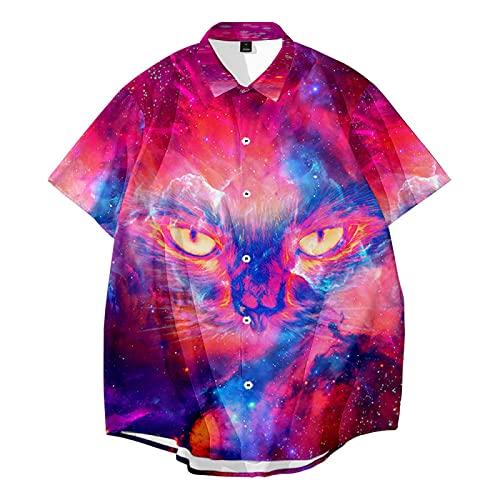 CHUIKUAJ Hombre Moda Camisas Manga Corta - Cárdigan Informal/Camisetas Estampadas Creativas/Ropa de Calle de Primavera y Verano/Estilo Hip-Hop Suelto/S-6XL Gran Tamaño,Purple-6XL