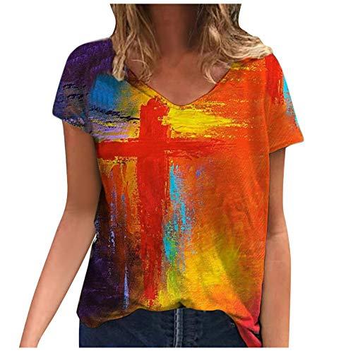 YAAY Camiseta casual de manga corta con cuello en V para mujer, estilo retro, abstracto, cruzado, gráfico, de verano