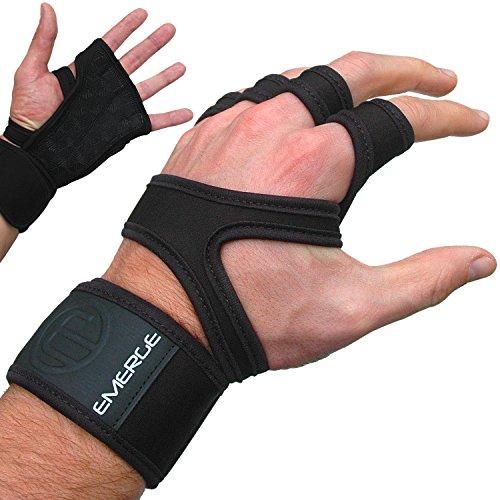 Emerge - Guantes de tracción para CrossFit, protecciones resistentes para las manos, con puños cómodos para el entrenamiento en gimnasio y WOD de CrossFit, mejores que los guantes o almohadillas de levantamiento de pesas, color negro, tamaño L