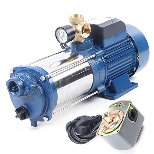 Romyix - Bomba centrífuga de la bomba de jardín (2200 W, 9600 l/h) con interruptor doméstico de acero inoxidable de acuueduque