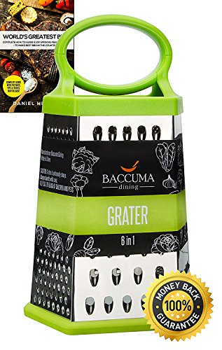 "Baccuma - Grater Box of 6 slicer sides for Cheese, Vegetables, Potato chips, Fruits, Chocolate, etc. - Stainless Steel - Silicone Handle and Bottom - Bonus еbook""World's Greatest BBQ"""