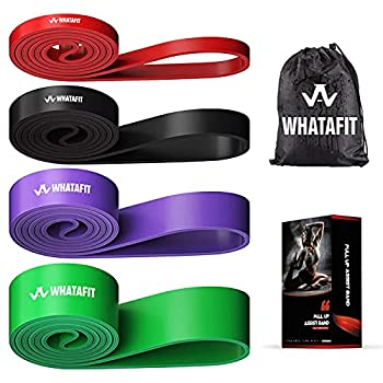 Whatafit Pull Up Assist Bands Resistance Stretch Band for Men and Women Assistance Band for Exercise Chin Ups Powerlifting Training Gyms Mobility Home Fitness  Set of 4