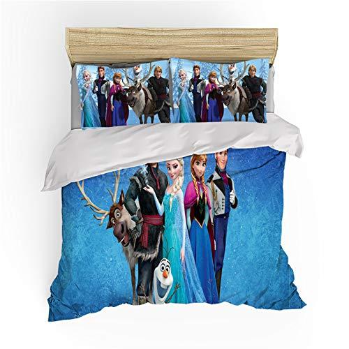 Disney Frozen Print Children Bedding Set,Cartoon Anime Character Olaf Anna Elsa Microfiber Duvet Cover,for Boys Girls Kids Single Double Bed (D,220X240)