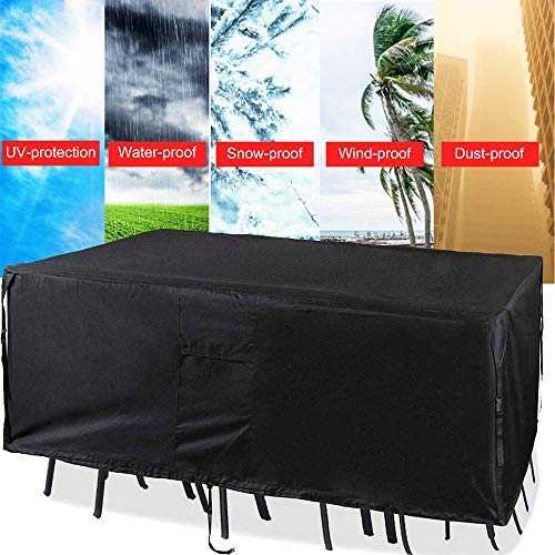 Chusstang Garden Furniture Cover Waterproof, 420D Polyester Fabric Outdoor Dining Set Cover Patio Dustproof/Windproof/Anti-UV Rectangular/Oval Cover for Sofas and Chairs - 315x210x100cm…