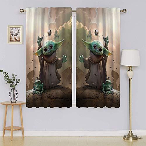 lacencn Star Wars The Mandalorian Baby Yoda - Cortinas decorativas con aislamiento térmico para mantener caliente las cortinas de puerta corredera para dormitorio/sala de estar de 55 x 72 cm