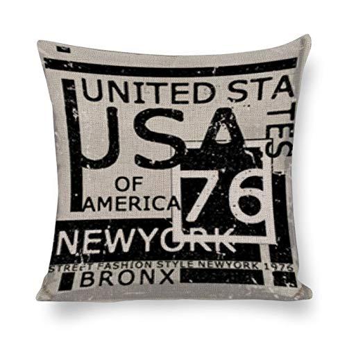 BONRI Funda de cojín de algodón y Lino, diseño de Nueva York (16'× 16') Fundas de Almohada Creativas con Cremallera
