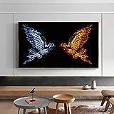 ganlanshu Pintura sin Marco Cartel de Arte de Lienzo de pájaro Abstracto e impresión en Lienzo para decoración de Sala de Estar ZGQ4529 60X110cm