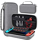 Carrying Case for Nintendo Switch, Switch Travel Case Work with Nintendo Switch Dock Case, Portable Switch Carry Case with Handle, Dual Zippers, Switch Bag for Game Storage Accessories-Grey