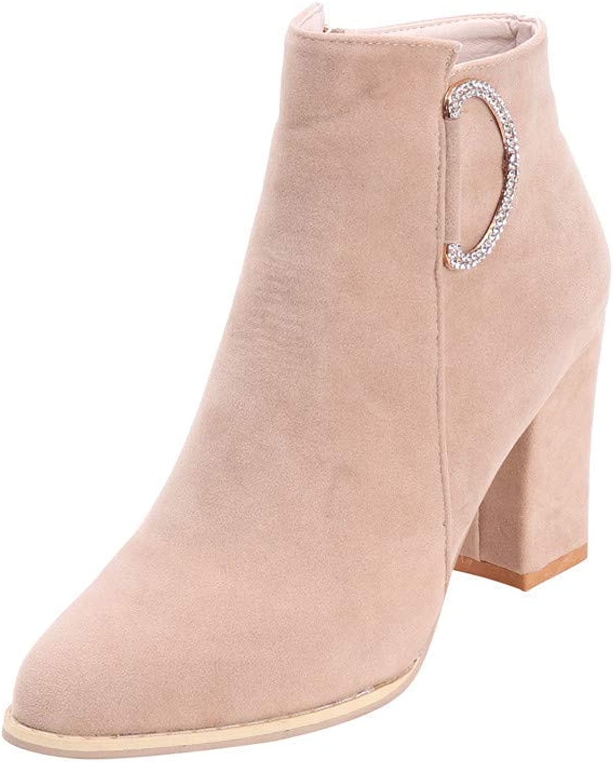 A-LING Charm Ankle Booties Soft Side Zipper High Heel Pointed Toe
