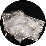 GDMING Plane Gewebeplane Abdeckplane Wasserdicht Schwerlast Mit Ösen Klar PVC Weiches Glas Gartennetz Anti-UV Markisen Draussen Wetterschutz Plastikfolie,23 Größen (Color : Klar, Size : 3x4m)