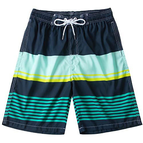 KAILUA SURF Mens Swim Trunks Long, Quick Dry Mens Boardshorts, 9 Inches Inseam Mens Bathing Suits with Mesh Lining (Stripes1, L)