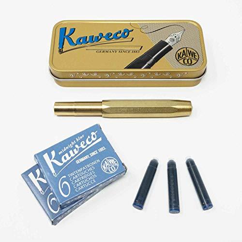 Kaweco Sport Füllfederhalter Messing (Brass) | Füllhalter mit Feder M | Kaweco Set mit 12 blauen Füller Tintenpatronen GRATIS