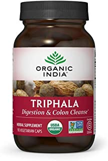 Organic India Triphala Herbal Supplement - Digestion & Colon Support, Immune System Support, Adaptogen, Nutrient Dense, Ve...
