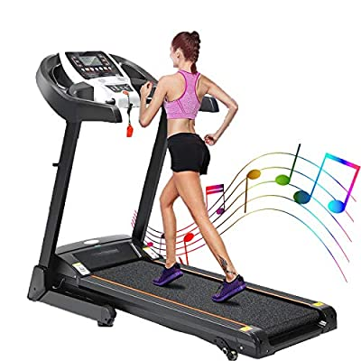 Treadmills for Home 3.25HP Electric Folding Treadmill with Incline Manual Walking Jogging Running Machine for Home Gym Cardio Treadmill Capacity 220lbs with App Control Bluetooth Speaker (Black)